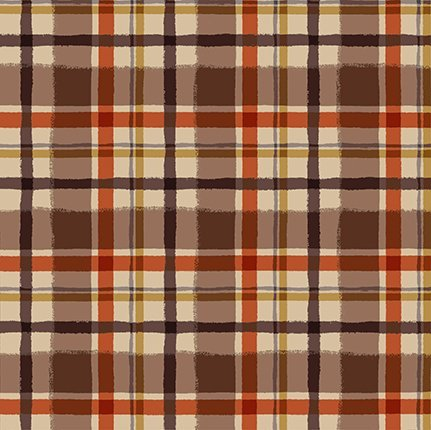 Clothworks Quilt Minnesota 2021 Y3324-66 FLANNEL Plaid Dark Caramel