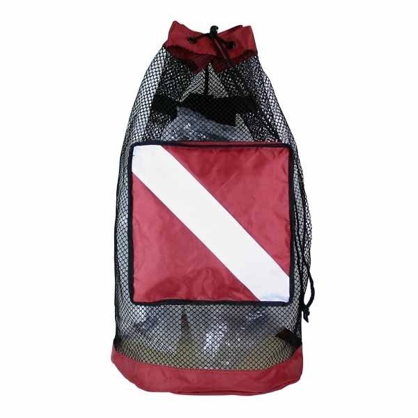 Back Pack, Black Coated Mesh Bag w/ Dive Flag