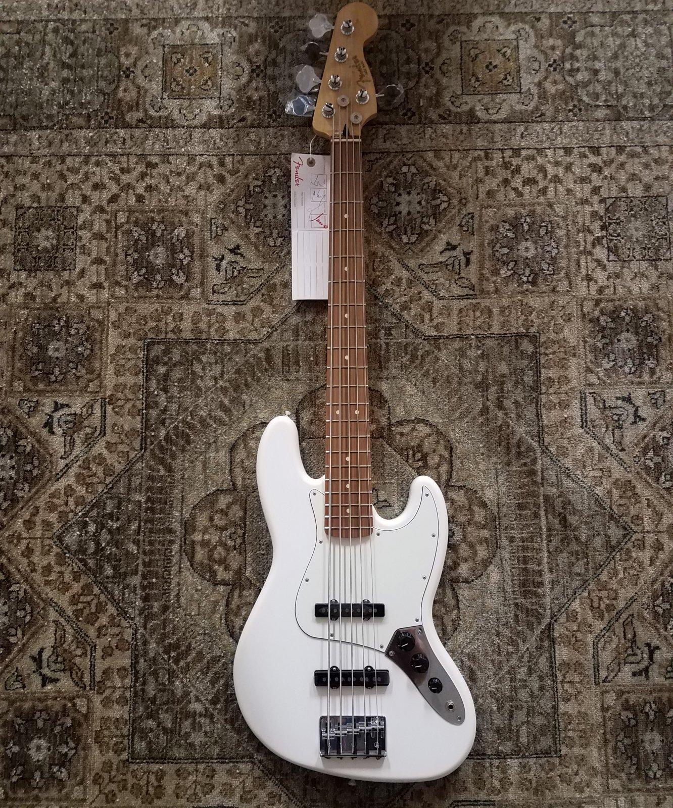 Fender Player Jazz Bass V in Polar White w/ Free Pro Setup