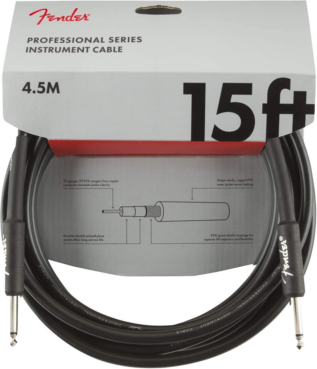 Fender Pro Series Cable 15' Straight - Straight Instrument Cable Black
