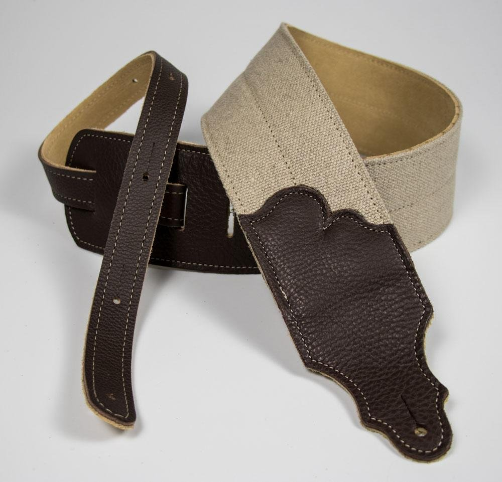 Franklin 3 Strap Natural Hemp 4 Pc. Strap w/ Chocolate Leather End Tabs And Suede Backing