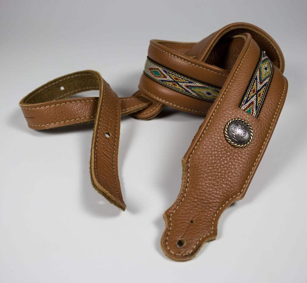 Franklin 2 Strap Padded Caramel Leather Natural Hitch Weave Concho