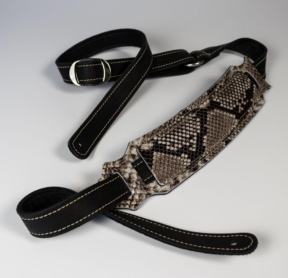 Franklin Black Glove Leather Vintage Strap/Snakeskin Leather Pad/Garment Leather Backing on Belt