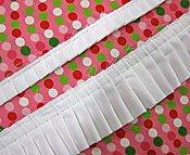 Pleated Fabric Ruffle - White 1 1/2