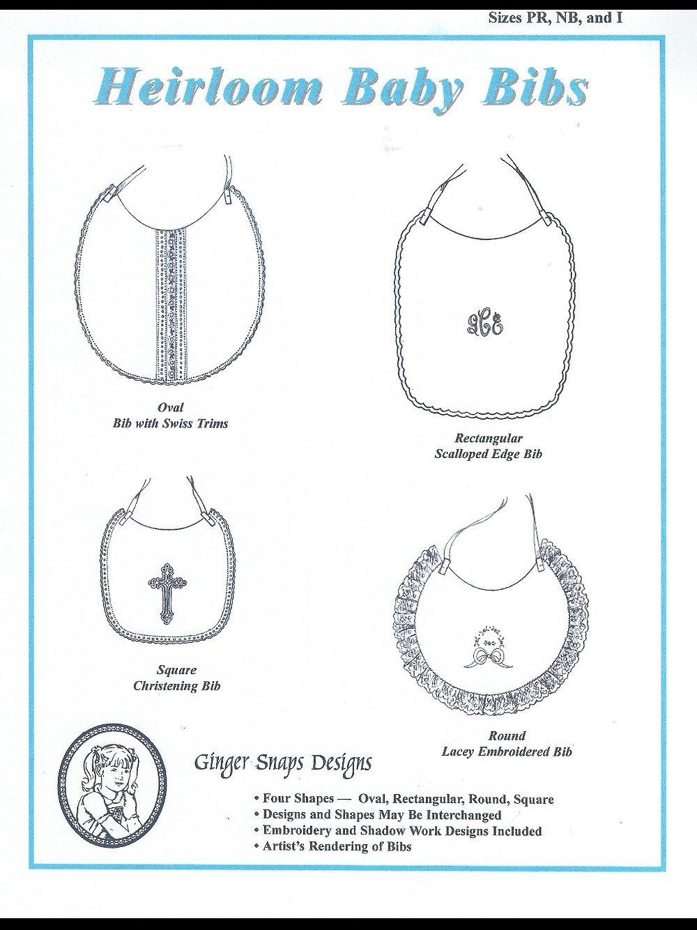 Ginger Snaps Designs Heirloom Baby Bibs