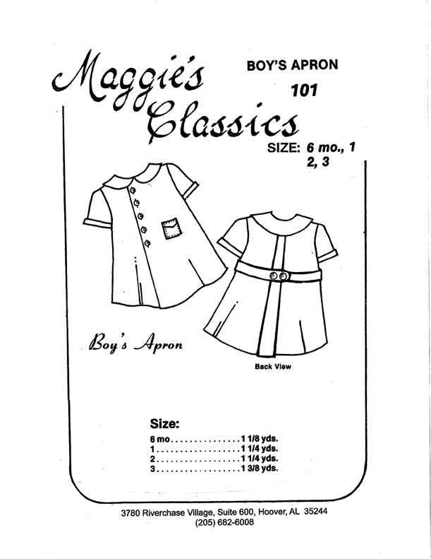 Maggie's Classics Boy's Apron 1 Back Pleat