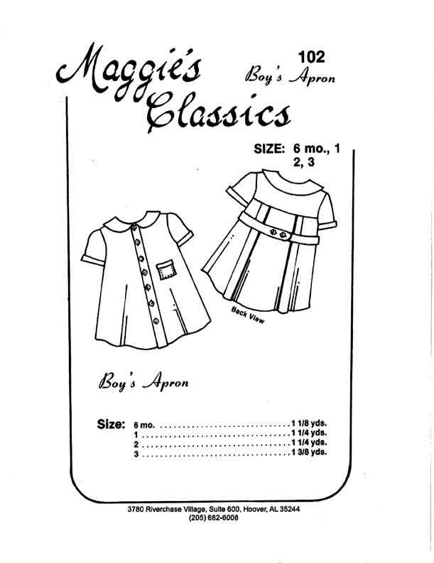 Maggie's Classics Boy's Apron 3 Back Pleats