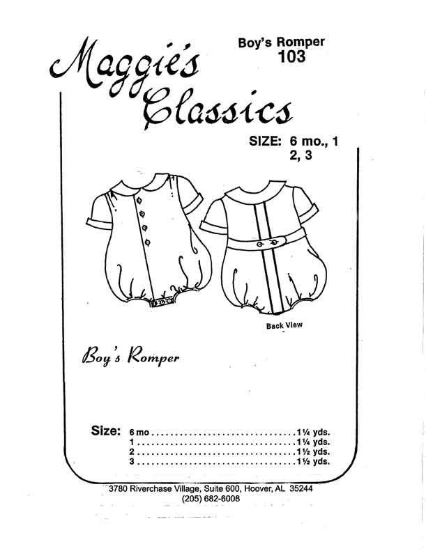 Maggie's Classics Boy's Romper