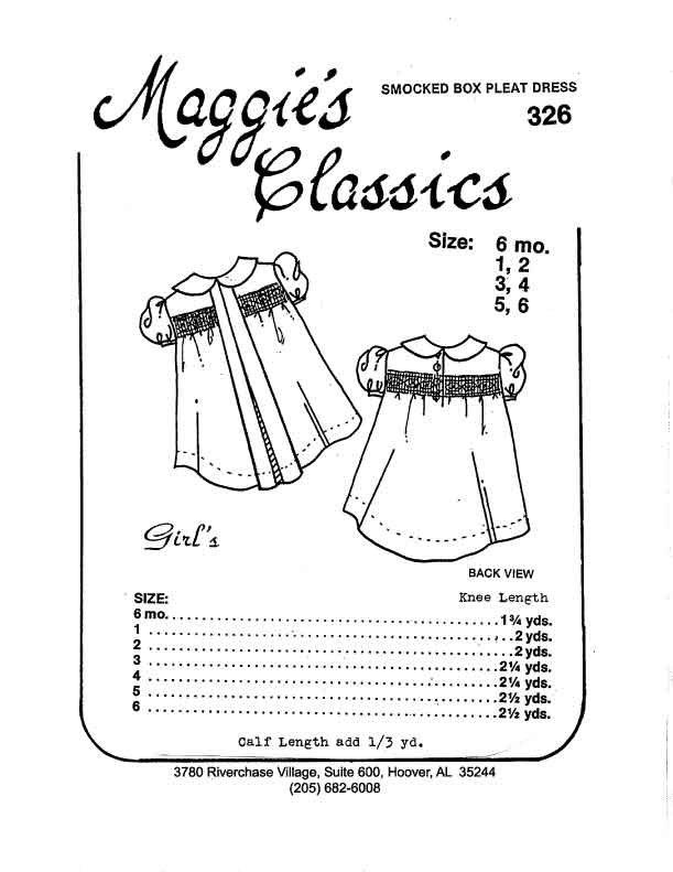 Maggie's Classics Girl's Smocked Box Pleat Dress