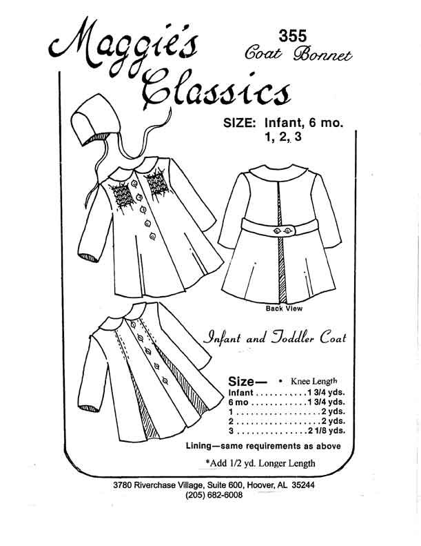 Maggie's Classics Infant and Toddler Coat and Bonnet