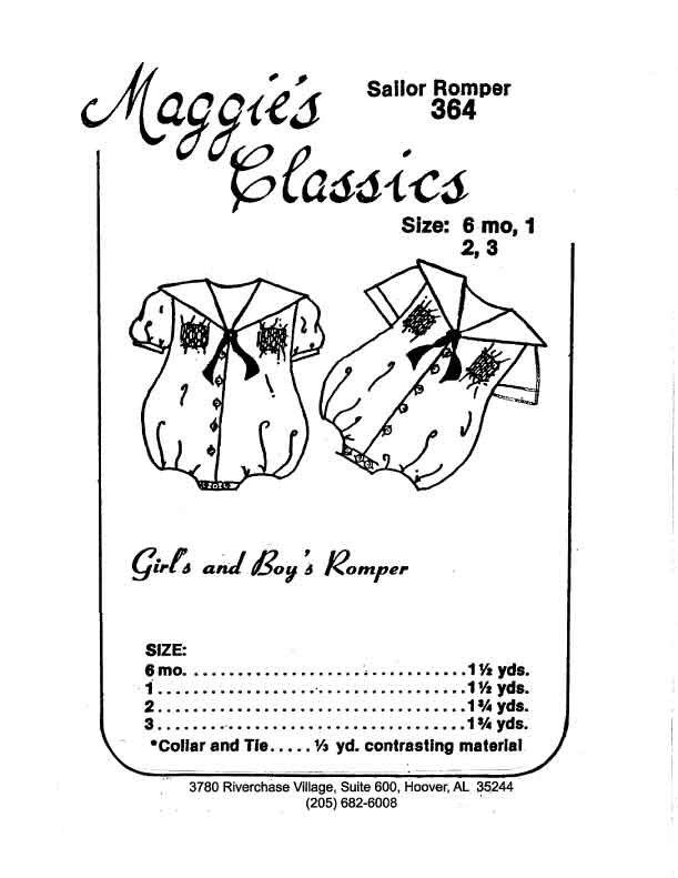 Maggie's Classics Boy's and Girl's Sailor Romper