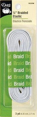 Braided Elastic 1/4x3yd White