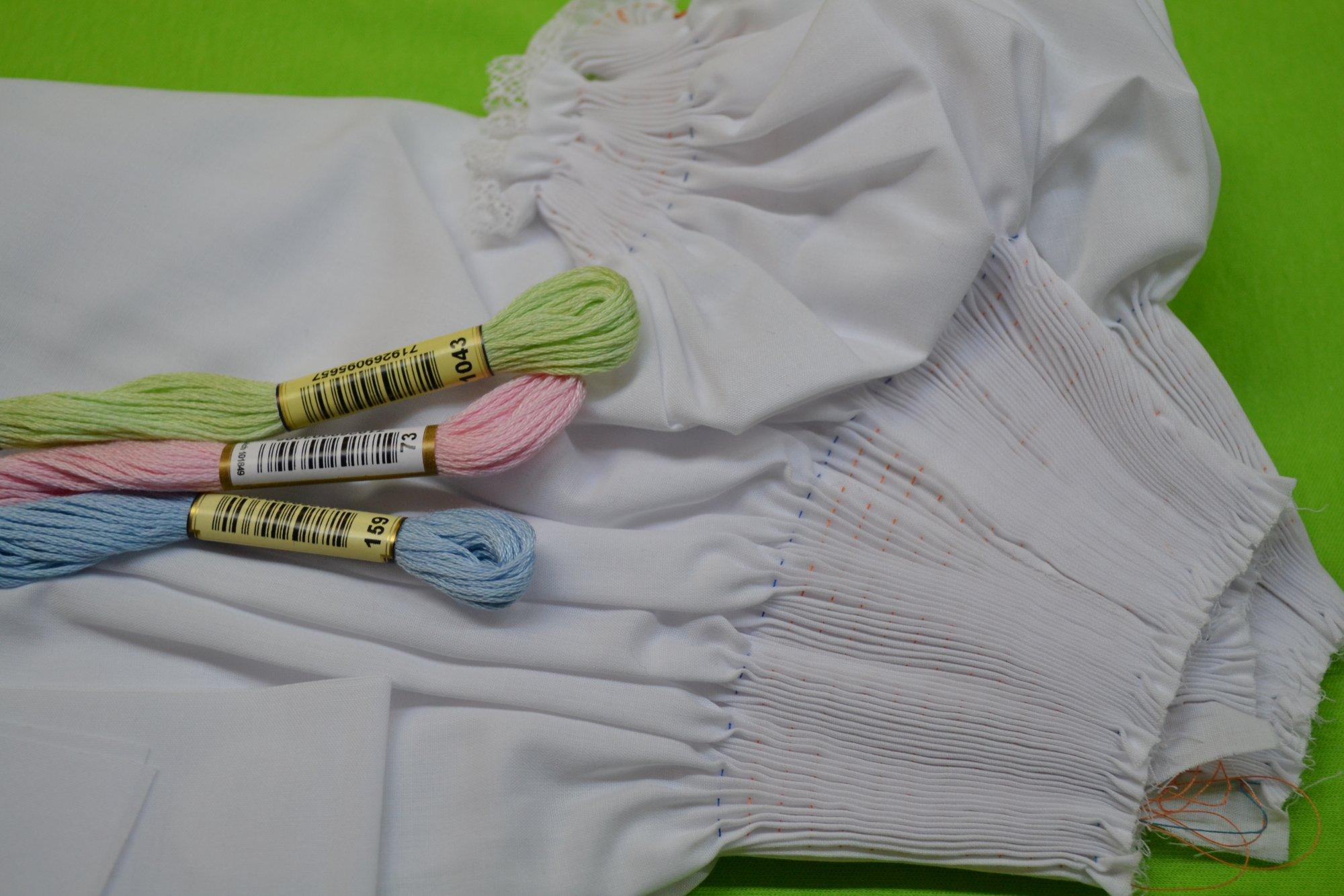 Bishop Kit - Pleated Sleeve White 6 months