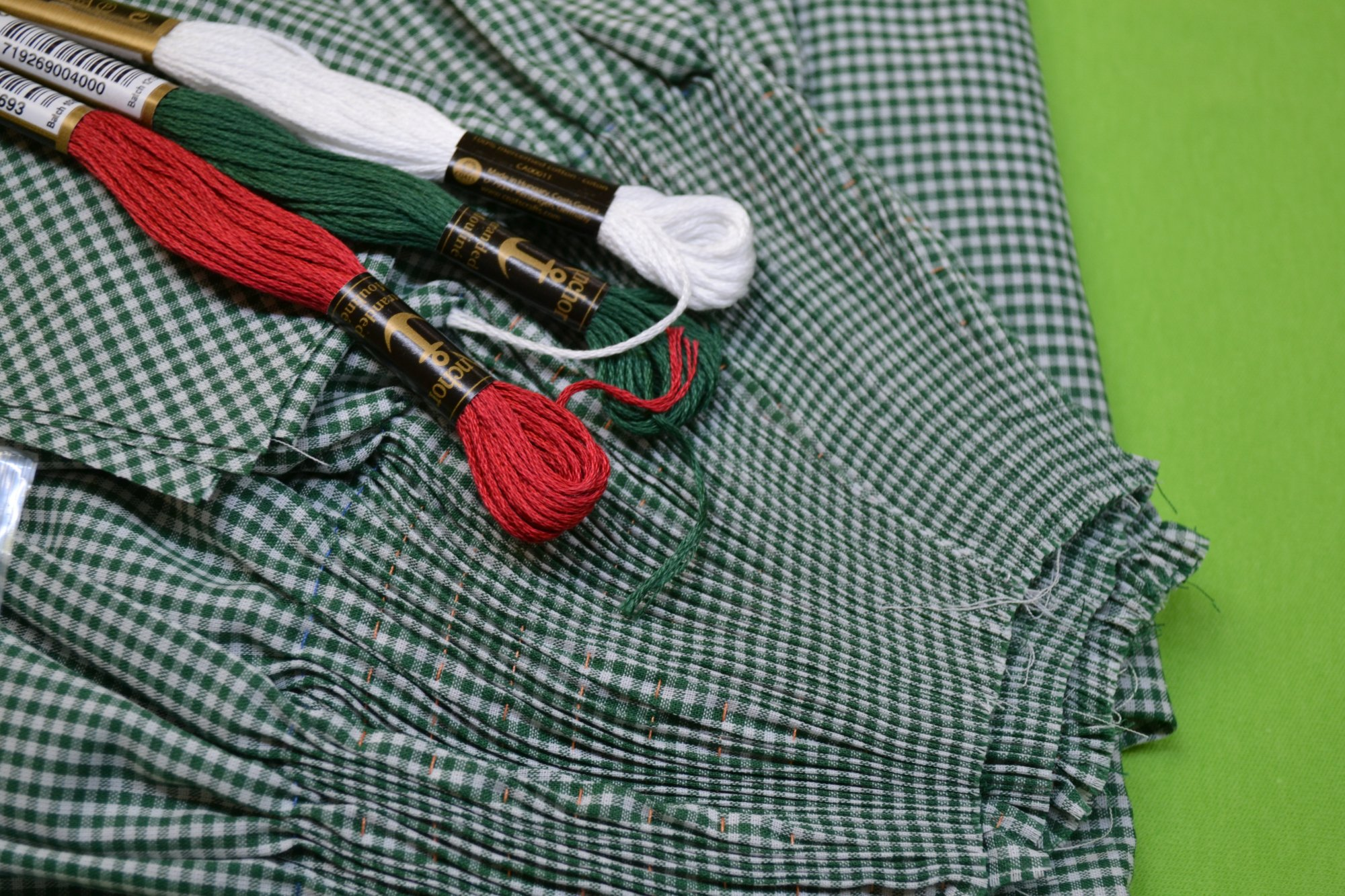 Bishop Kit - Banded Sleeve Green Gingham 2 years