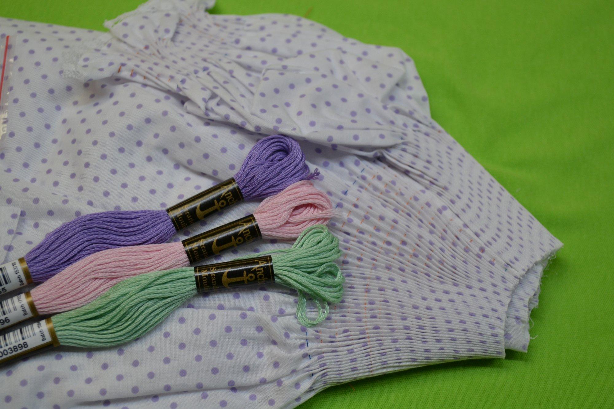 Bishop Kit - Pleated Sleeve Lavender Dot 3 months