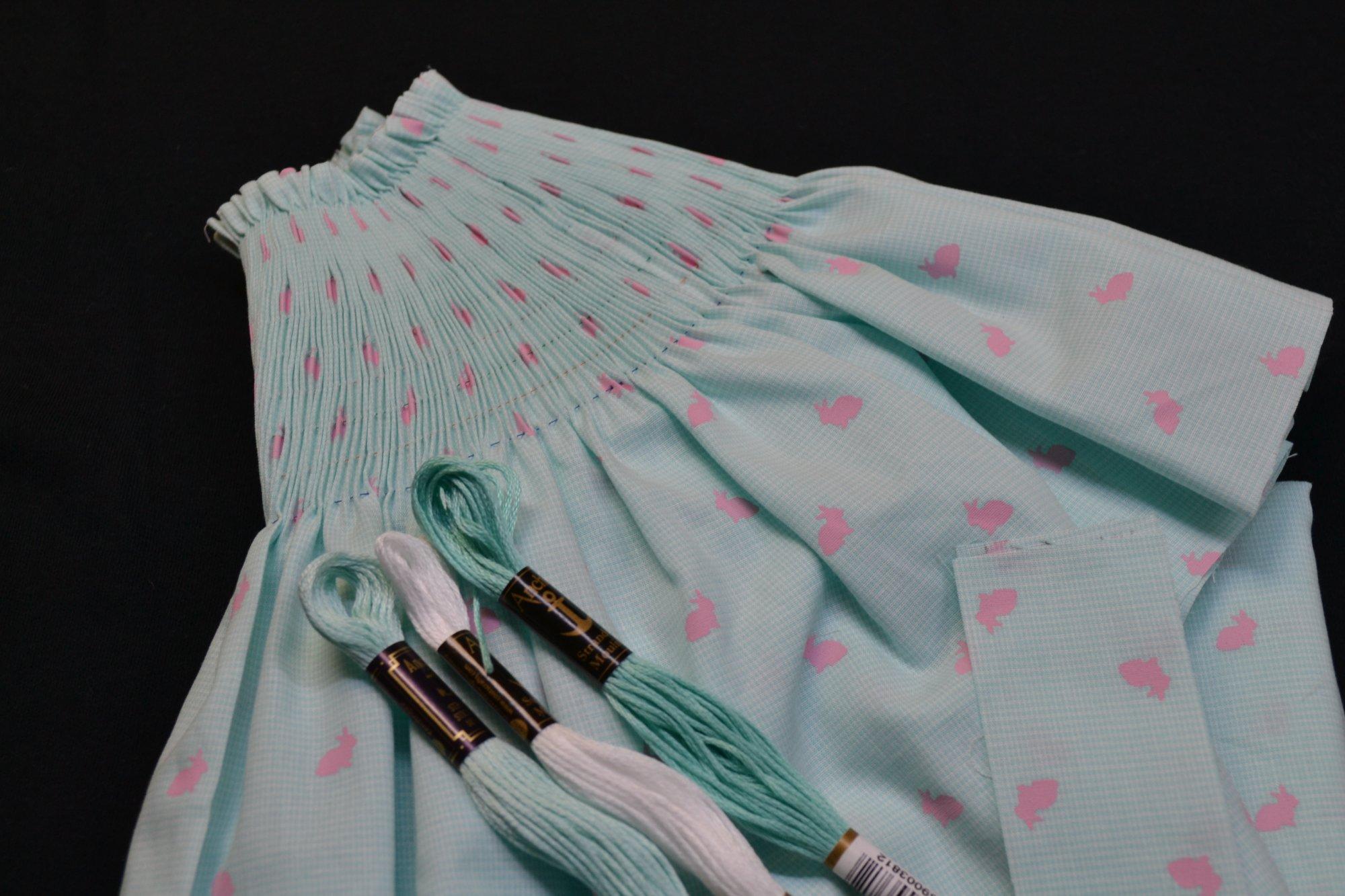 Bishop Kit - Banded Sleeve Pink Rabbit on Microcheck