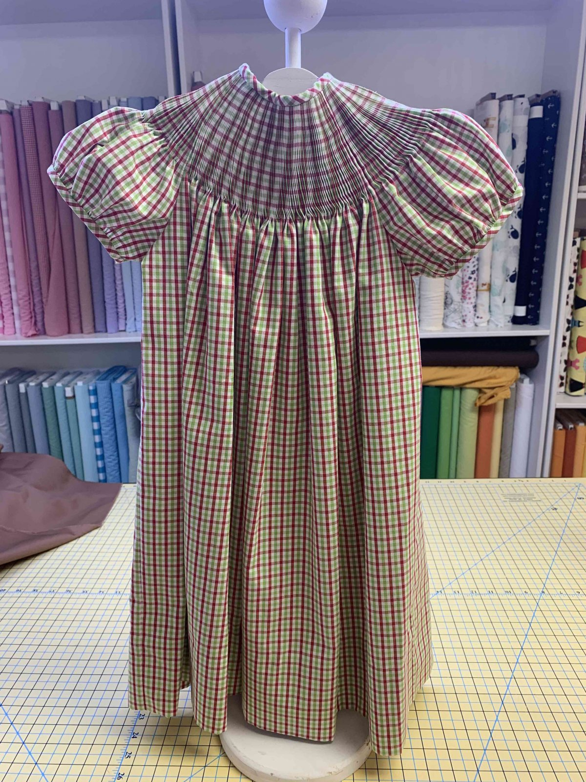 Ready to Smock - Bishop - Red, Green and White Check Size 4
