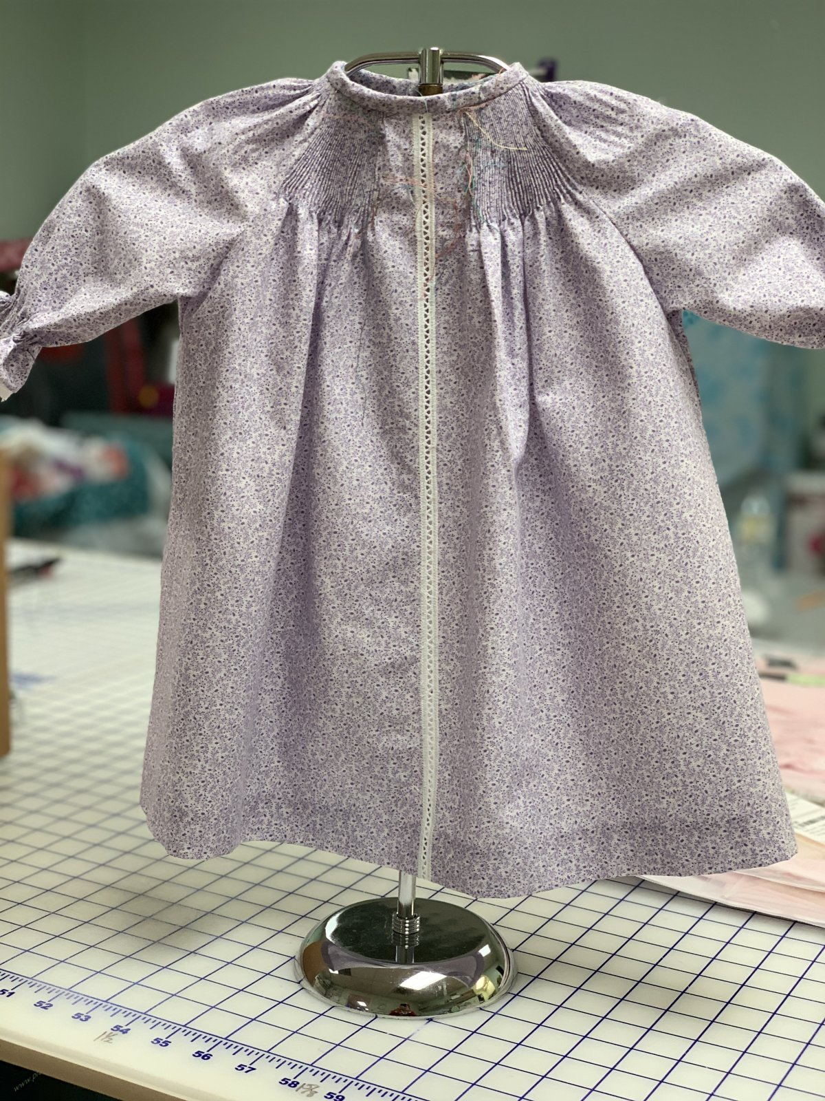 Ready to Smock - Baby Daygown - Purple Flowers on White - Medium