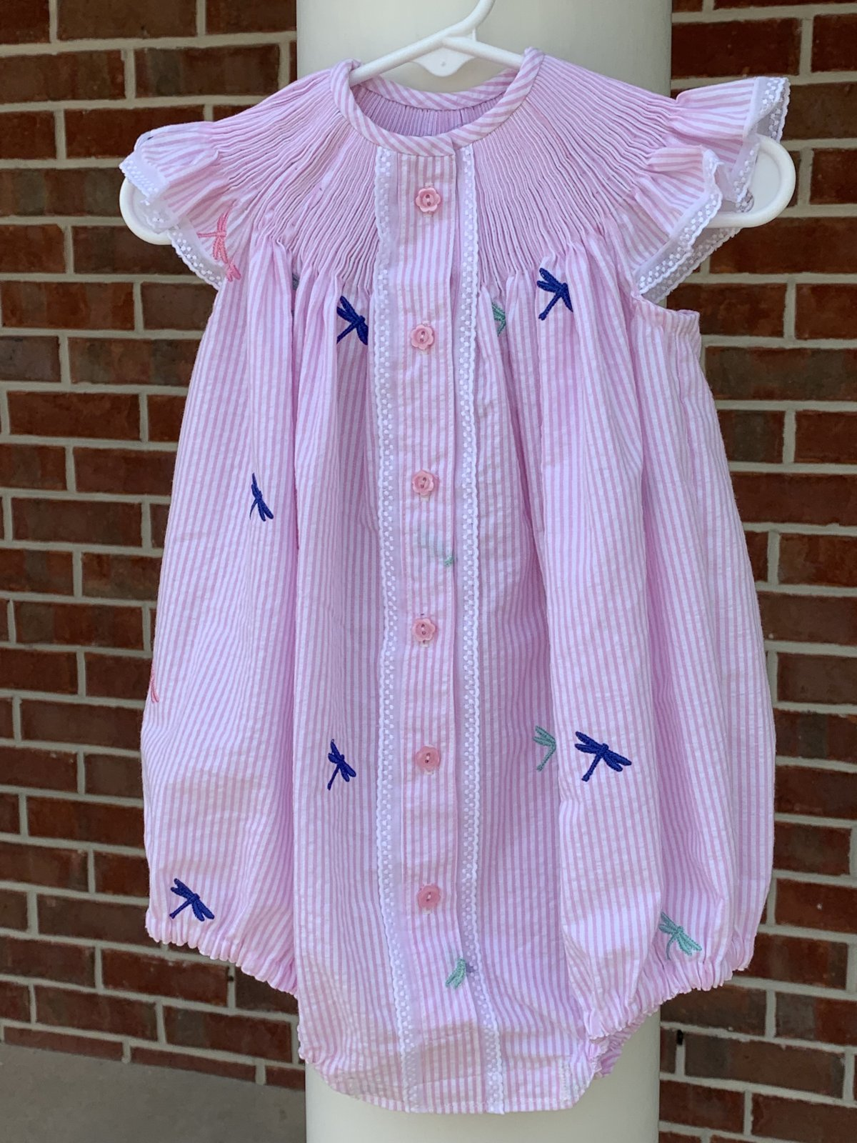 Ready to Smock - Bishop Bubble Embroidered Dragonflies on Pink Seersucker 18 mo