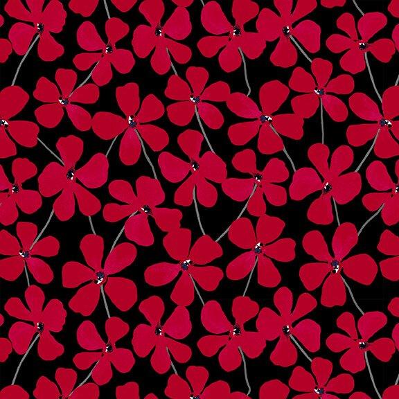 Red Alert - 1278-99 Black Floral Allover
