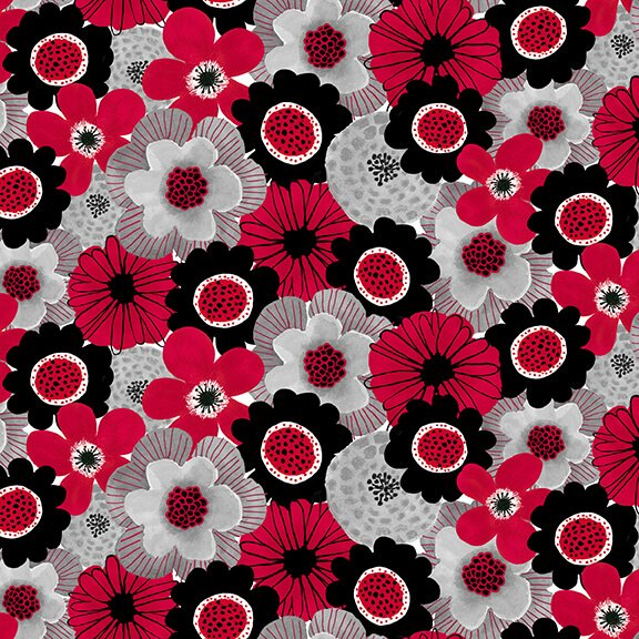 Red Alert - 1283-88 Red Floral Collage