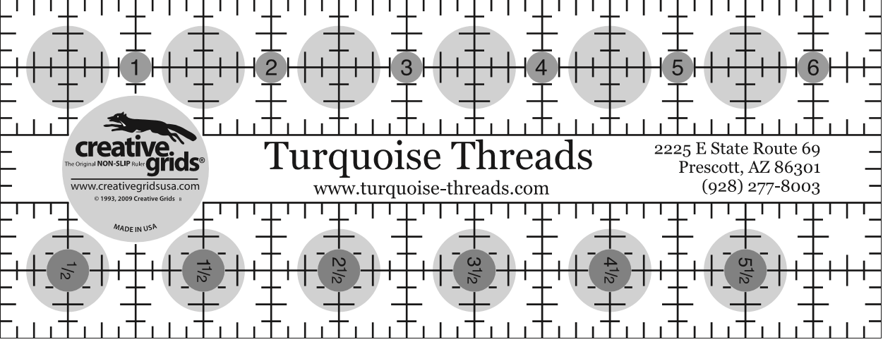 Turquoise Threads Ruler 6-1/2 x 2-1/2