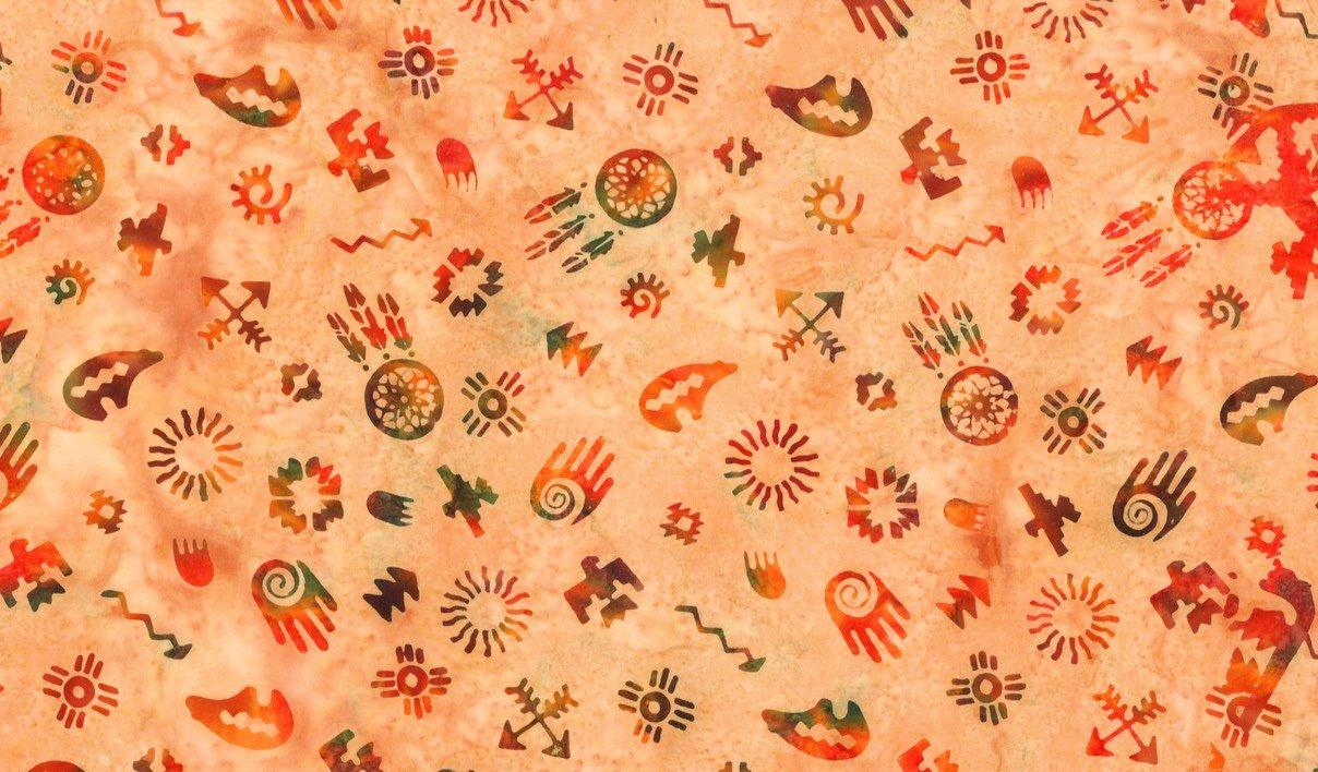 Custom Bali Batik: Mixed Symbols - Orange