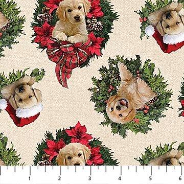 Santa's Helpers: Labrador Wreath - Cream