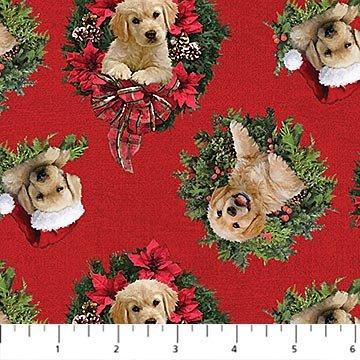 Santa's Helpers: Labrador Wreath - Red
