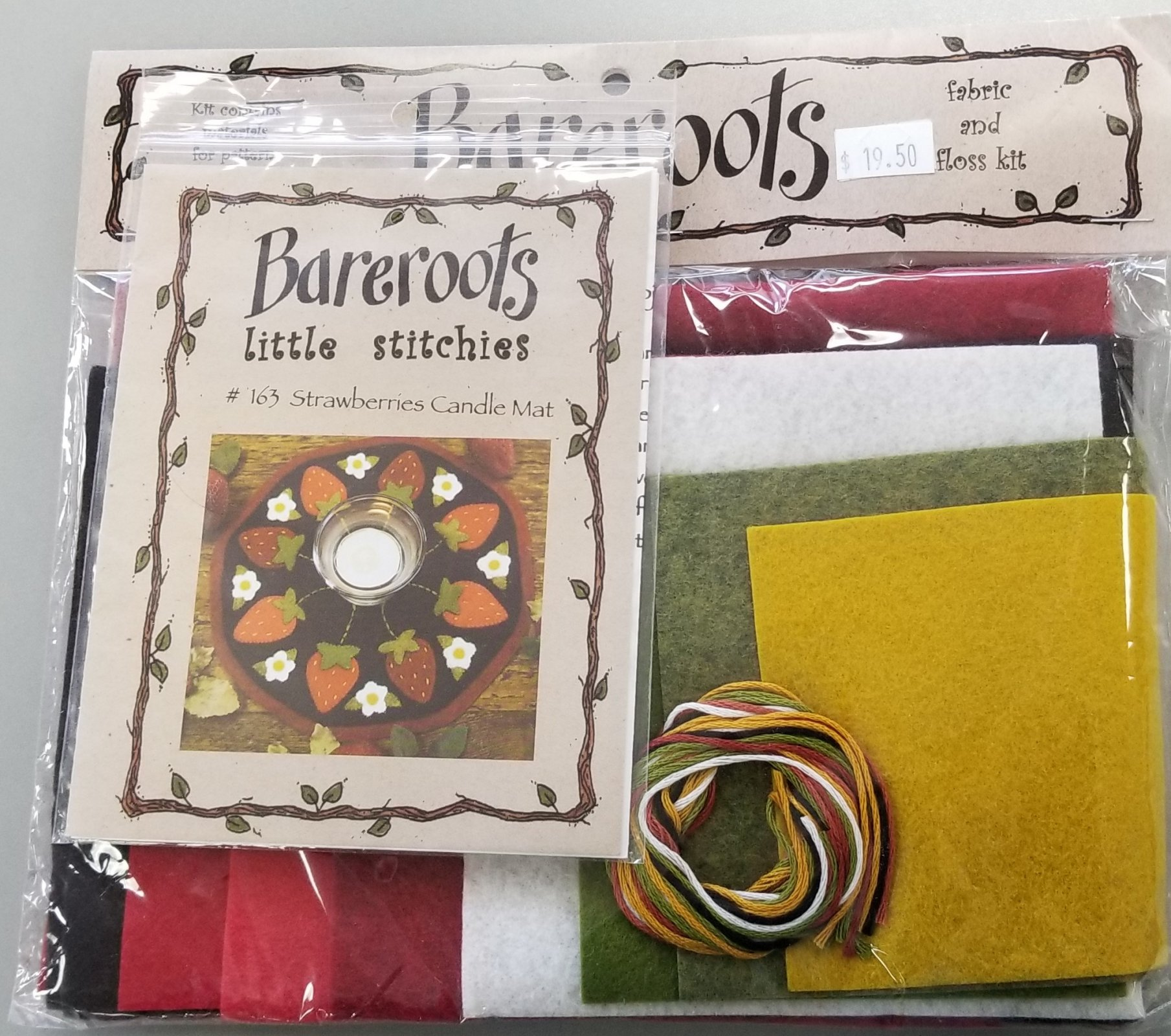 Bareroots Little Stitchies Strawberries Candle Mat