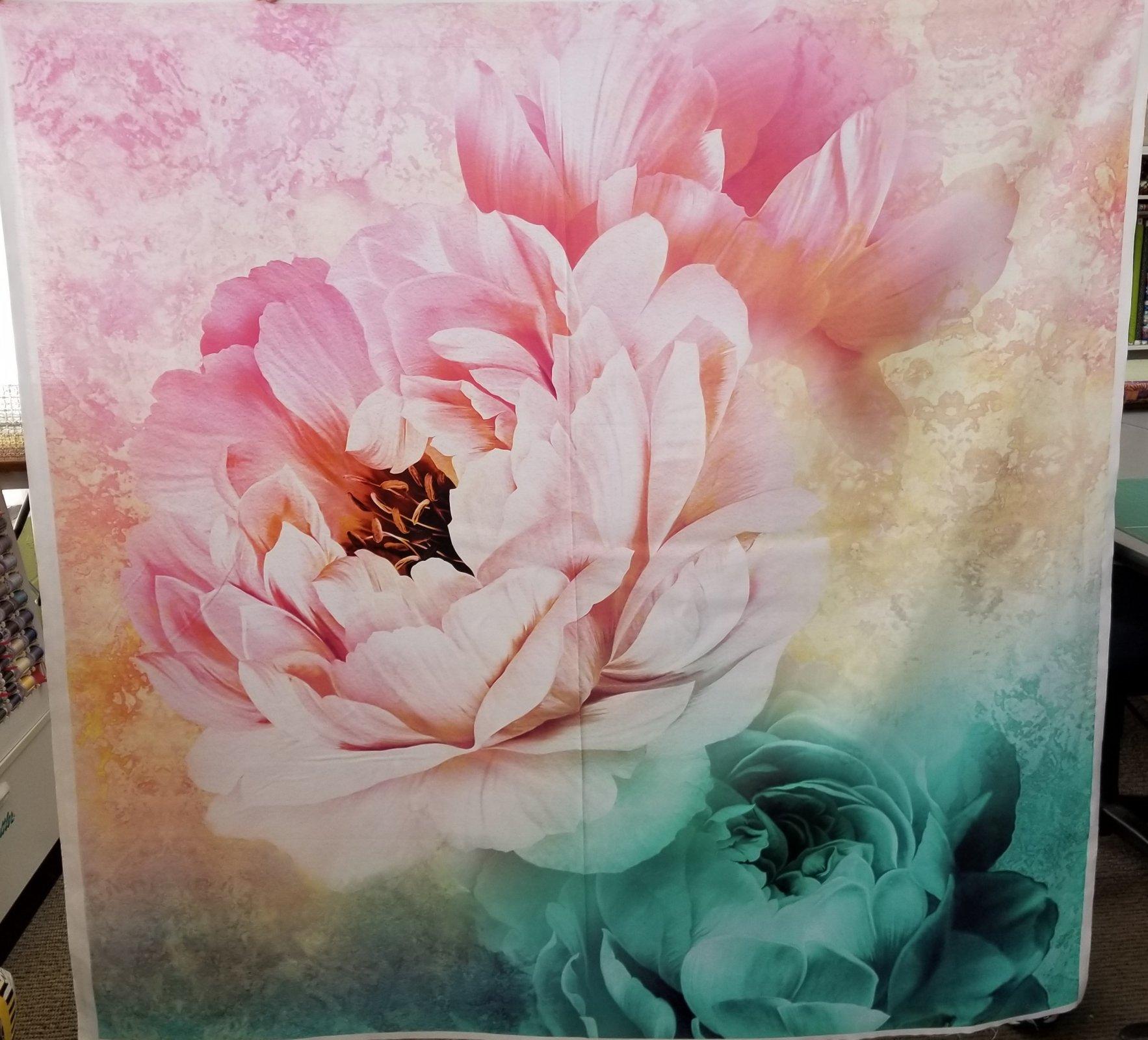 Royal Beauty Peonies Panel Pink/Teal