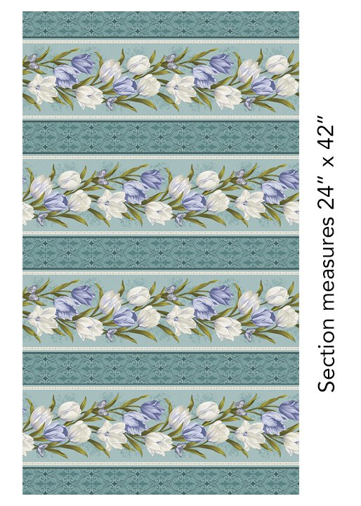 Totally Tulips Stripe Teal