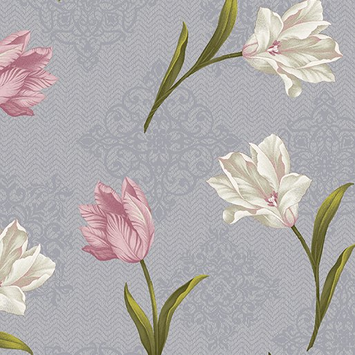 Totally Tulips Medallion Grey (1.583 yd)