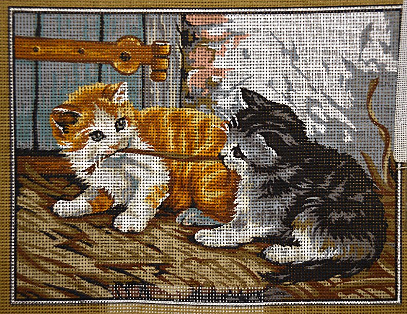 Needlepoint Two Cats With Yarn:  NEE