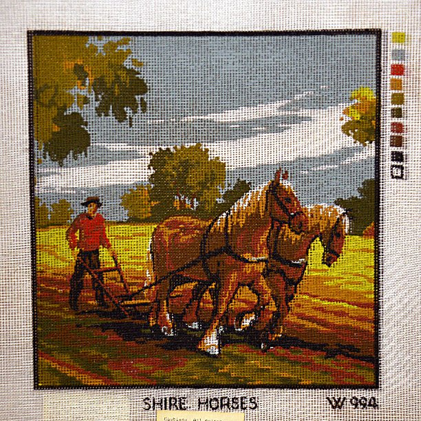 Needlepoint Shire Horses:  NEE