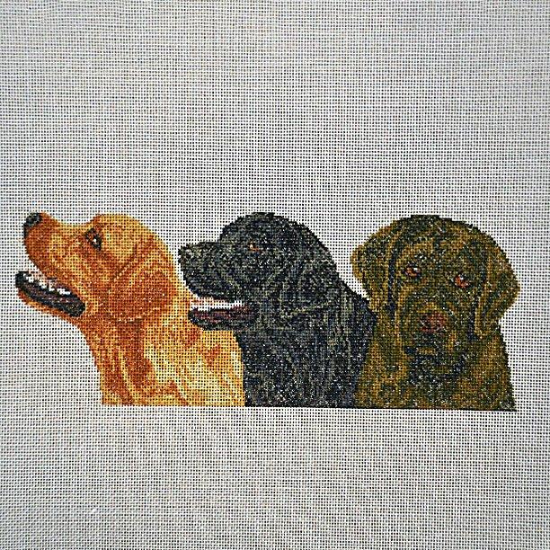 Needlepoint Three Dogs:  NEE