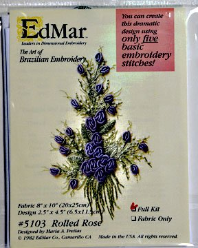 Brazilian Embroidery:  Rolled Rose:  BE9010