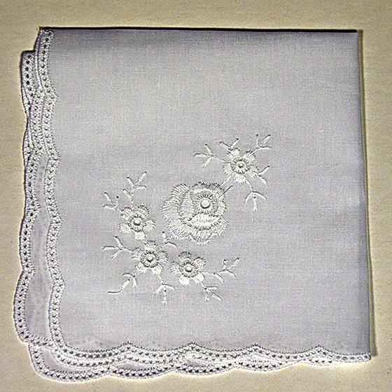 Rose Pattern White Hanky
