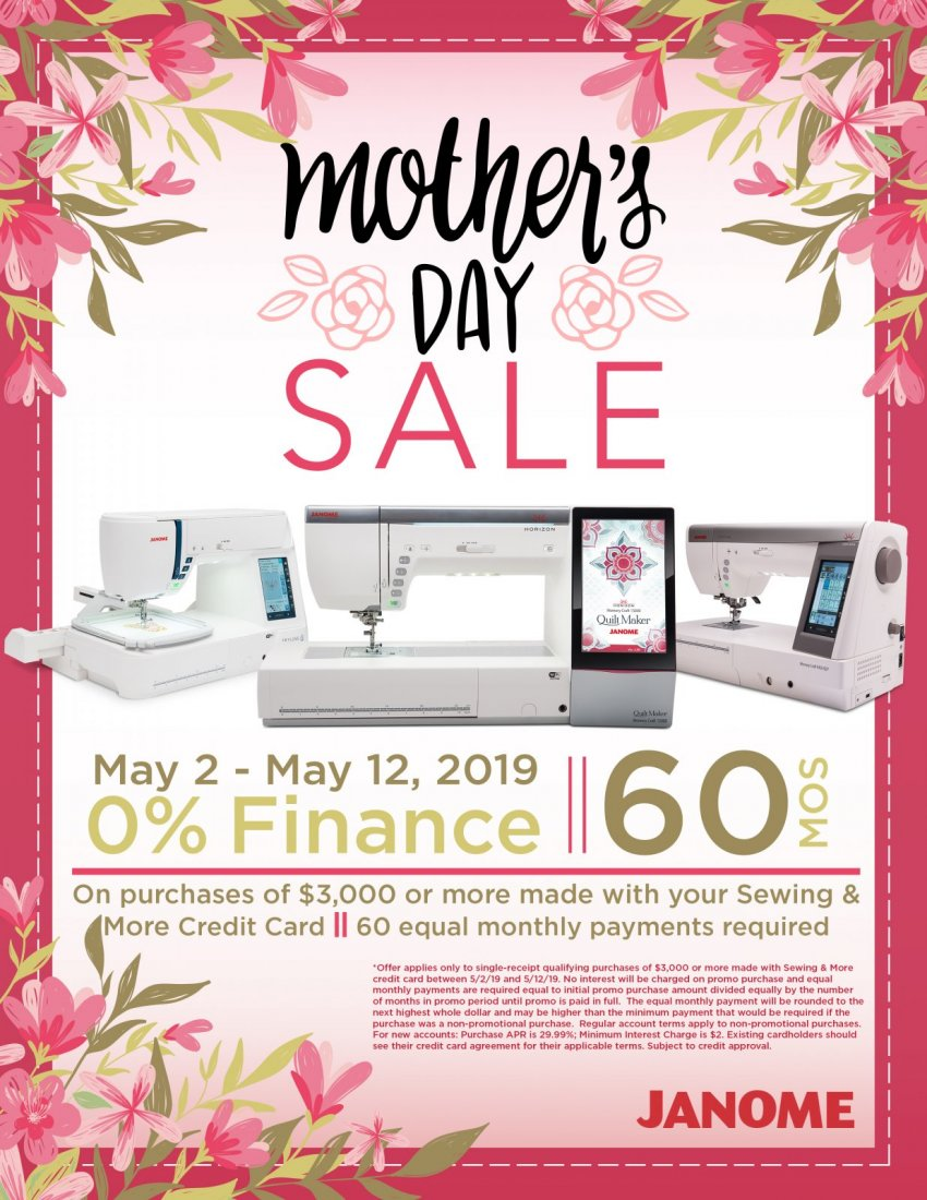 Janome Mother's Day Sale & Financing Special