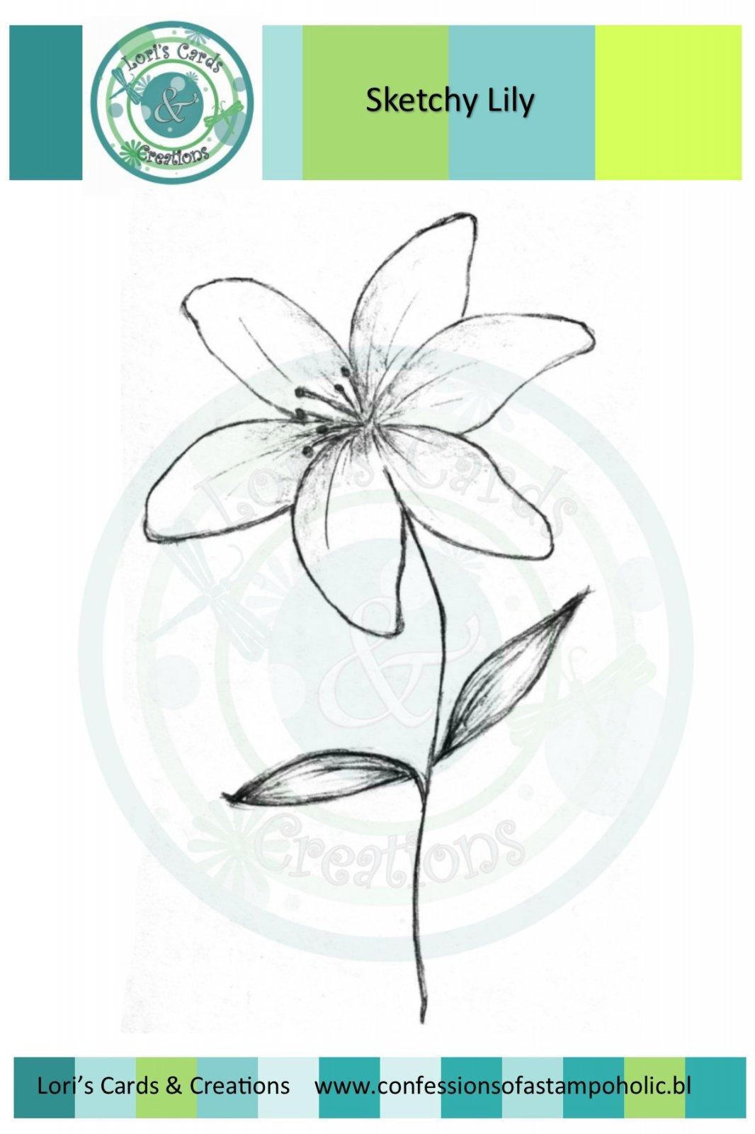 Sketchy Lily Flower - Digi