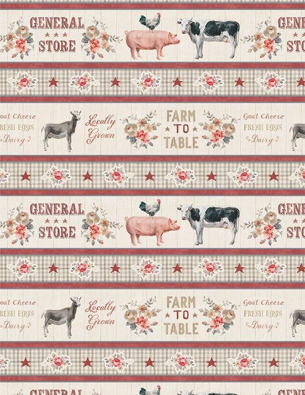 Wilmington Prints Farmhouse Chic Border Stripe