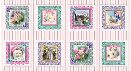 Studio E Kitty Glitter Digital 24 Panel 9in x 9in Blocks Pink