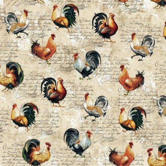 Studie E Farmers Market Roosters on Cream