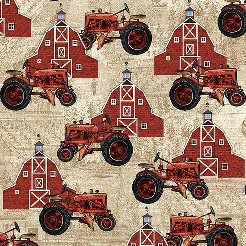 Studio E Farmers Market Red Tractors/Barns on Tan