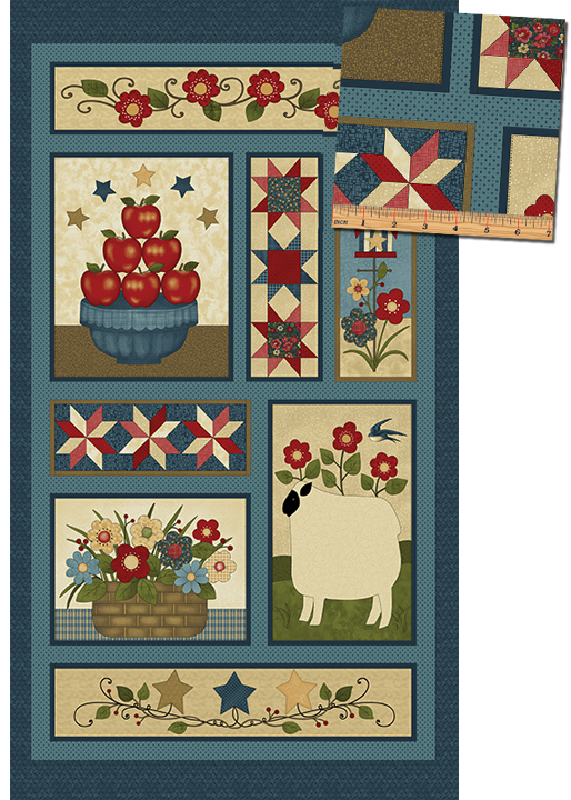 Benartex Liberty Hill Faith & Family Panel Blue/Multi