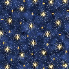 Quilting Treasures Miracle in Bethlehem Sparking Stars Navy