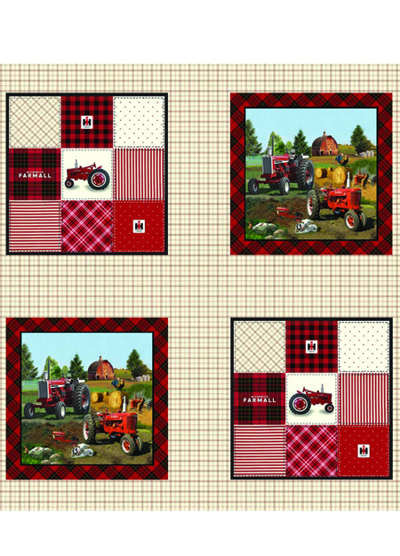 Print Concepts Farmall Plaid Pillow 36 Panel