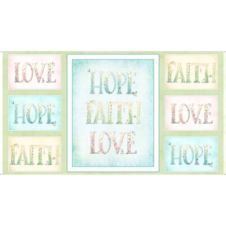 Quilting Treasures Sweet Thoughts Faith Hope Love 24 inch Panel