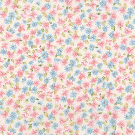 Robert Kaufman Eaton Place Pink Blue Floral on Ivory 6 inch