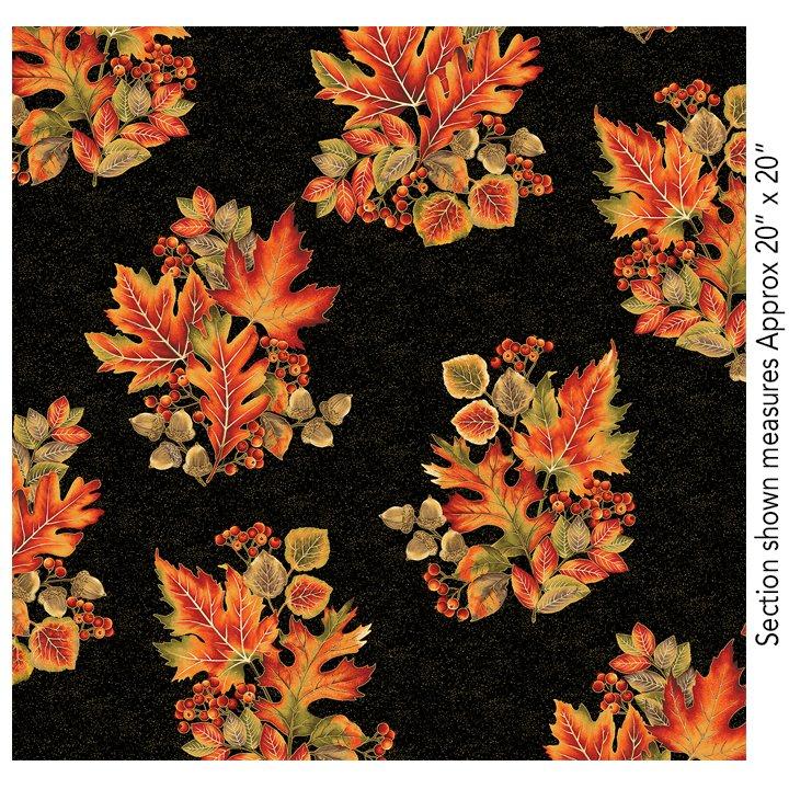 Benartex Autumn Leaves Spray Black